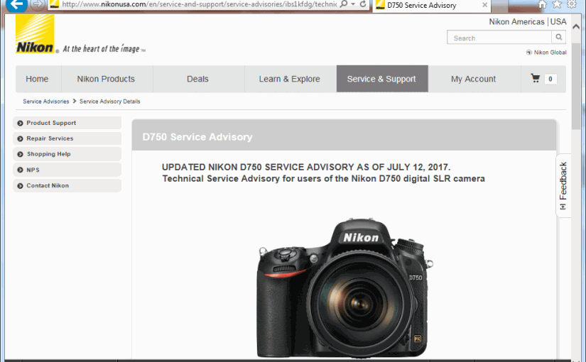 Product Recall: Nikon calls back D750 digital camera