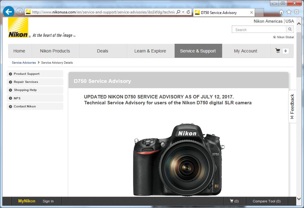 Recall Nikon D750 SLR digital camera
