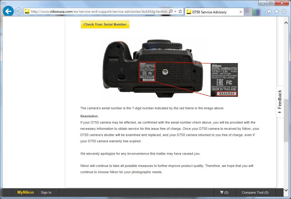 Recall Nikon D750 digital camera