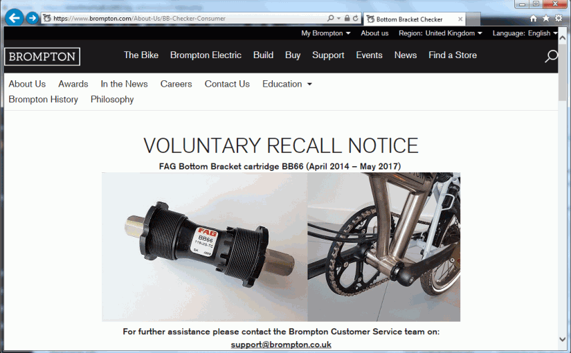 Product Recall: Brompton Bicycle calls back various bikes