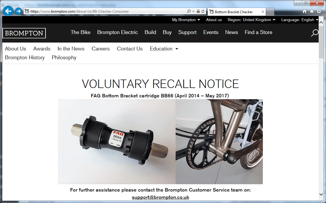 Recall Brompton Bicycle - shortmanual.com