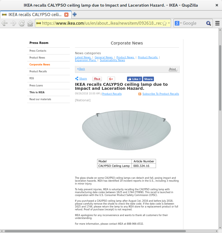 Recall - shortmanual.com: IKEA Calypso Ceiling Lamp
