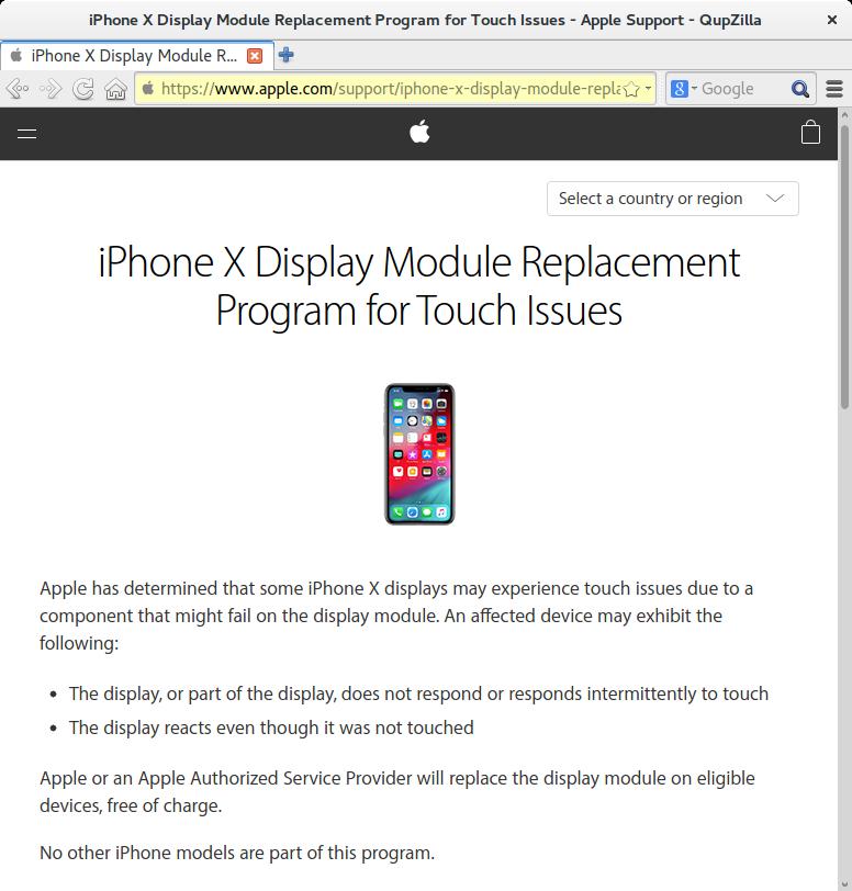 Recall Apple iPhone X Display Replacement Program - shortmanual.com