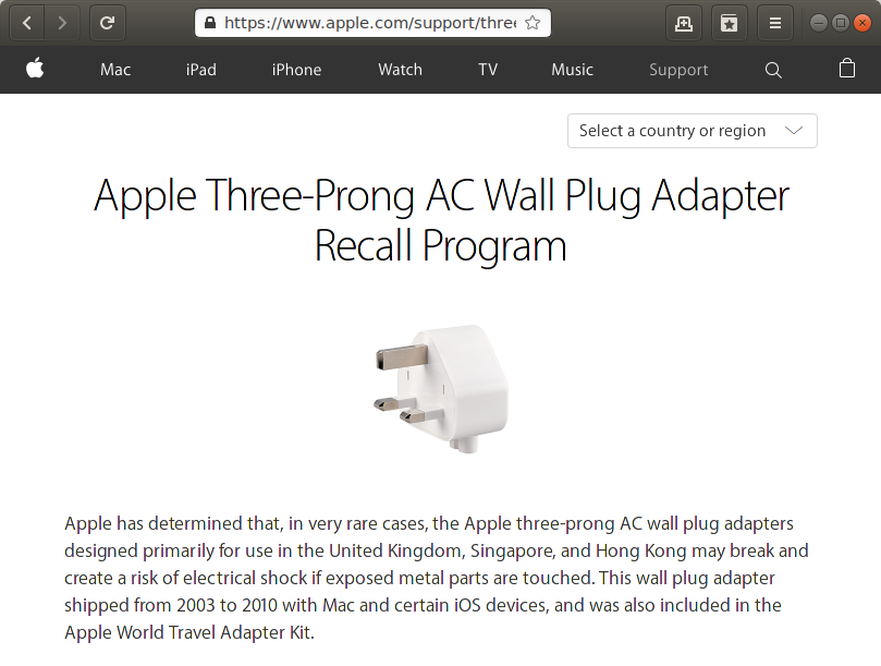 Recall Apple AC Wall Plug - shortmanual.com
